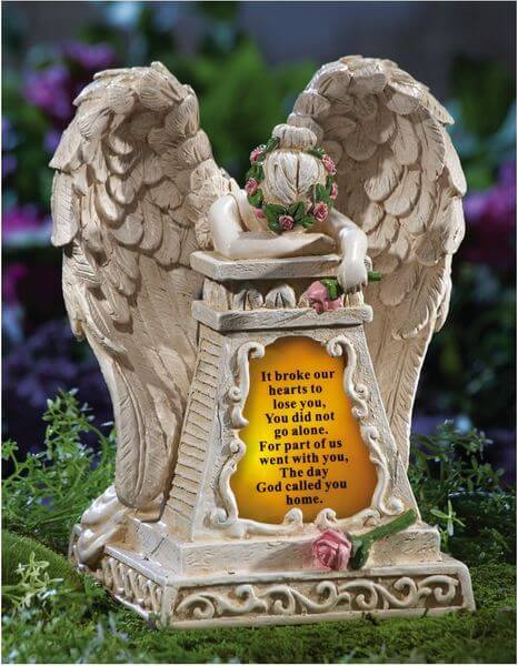 Solar Lighted Weeping Angel Garden Statue