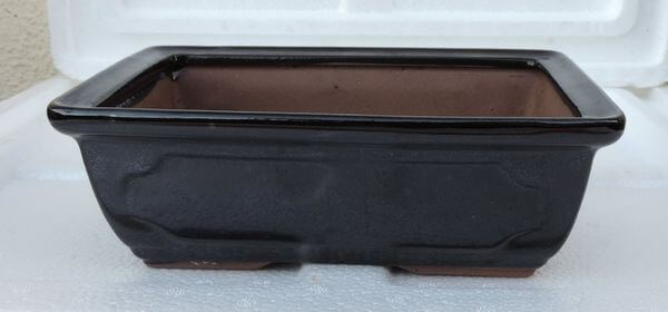 Black Ceramic Bonsai Pot, 7.5 x 5.5 Inches