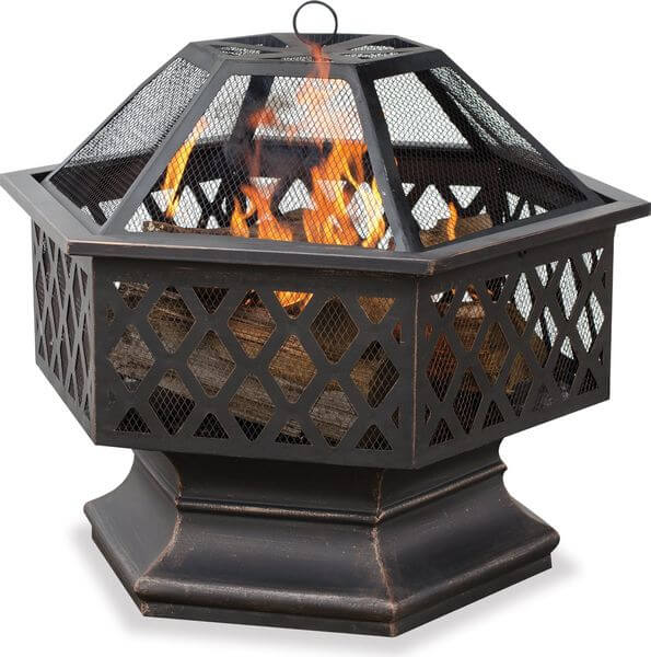 Hex Shaped Outdoor Fire Bowl with Lattice, Oil Rubbed Bronze