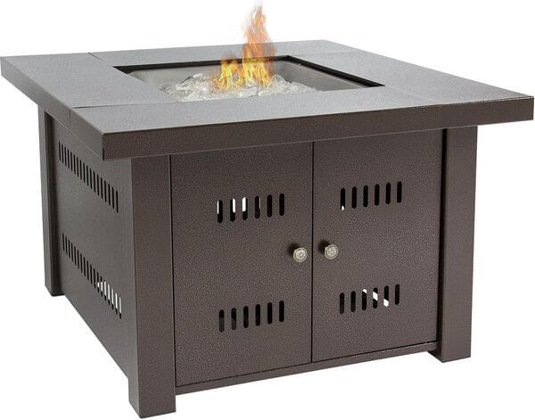 Gas Outdoor Fire Pit Table with Hammered-Antique-Bronze Finish