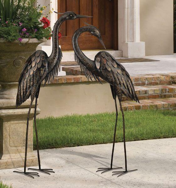 Regal Art And Gift Standing Heron Bronze Garden Statue