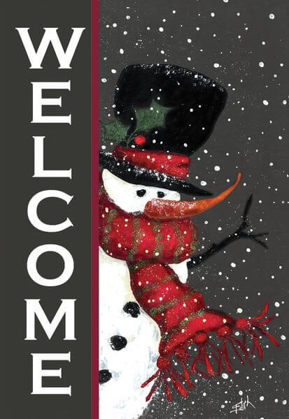 'Snowman Welcome' Double Sided Christmas Garden Flag