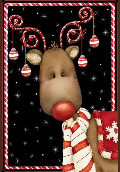 'Candy Cane Reindeer' Double Sided Christmas Garden Flag