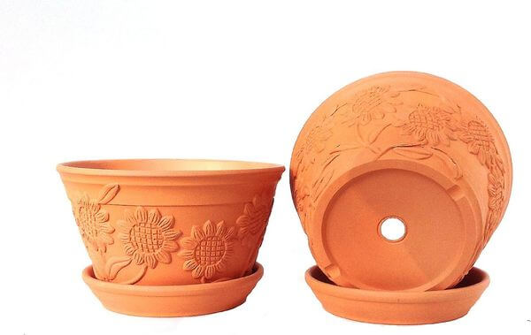 Raised Sunflower Embellished Natural Terra Cotta Garden Pots
