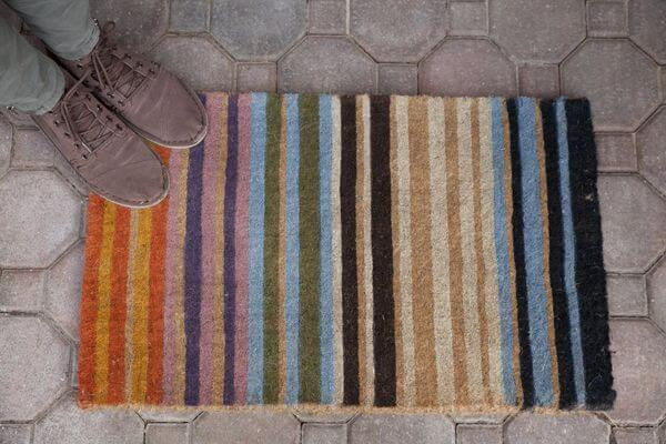 Rainbow Stripe Hand Made Extra Thick Coir Doormat
