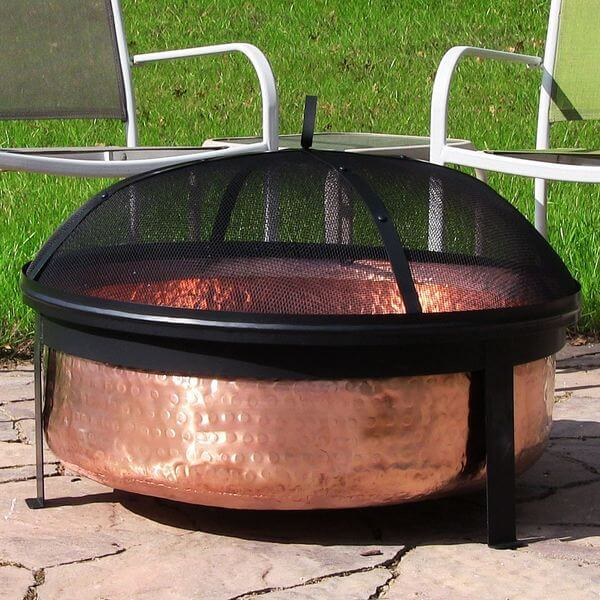 Sunnydaze Hammered 100% Copper Wood Burning Fire Pit with Spark Screen