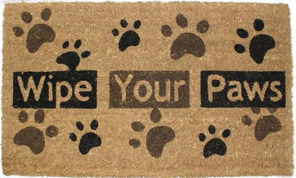J & M Home Fashions Paw Prints Vinyl Back Coco Doormat