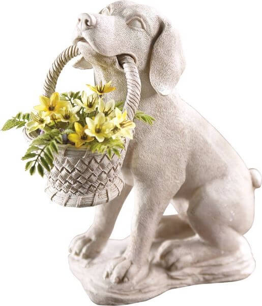 Charmant Puppy Dog With Basket Garden Statue
