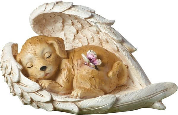 Guardian Angel Wings Sleeping Dog Statue