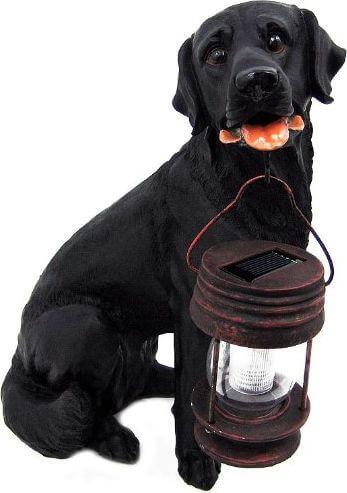 Black Labrador Retriever Solar Garden Statue