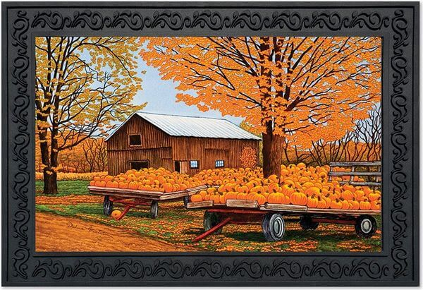 Pumpkinville Farm Scene Fall Doormat