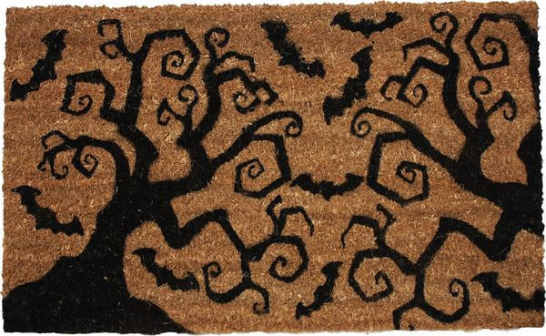J & M Home Fashions Halloween Bats & Trees Vinyl Back Coco Doormat