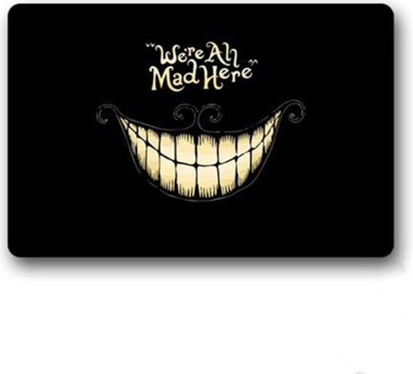 AKF Shop We're All Mad Here Halloween Doormat