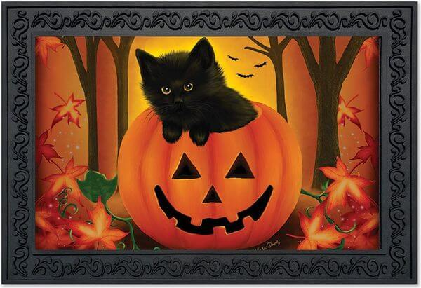 Kitten in Pumpkin Halloween Doormat