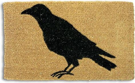 Black Crow Silhouette Coir Door Mat