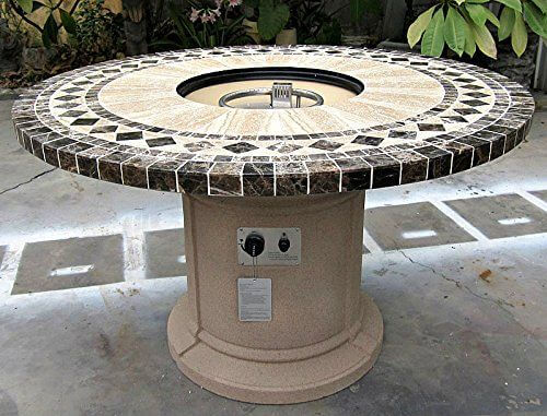 Outdoor Gas Firepit with Marble Mosaic Inlay