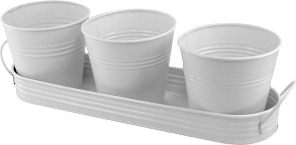 PLAID Metal Planting Pots with Tray, White
