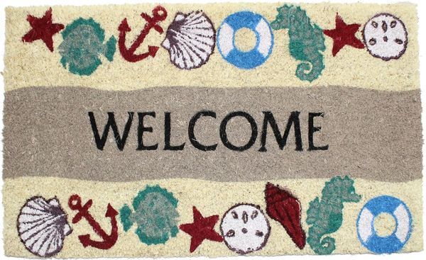 J & M Home Fashions Seaside Welcome Vinyl Back Coco Doormat