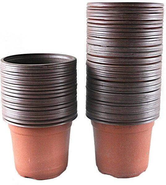 Truedays 4-inch Plastic Seedling Pots, 100 Pack