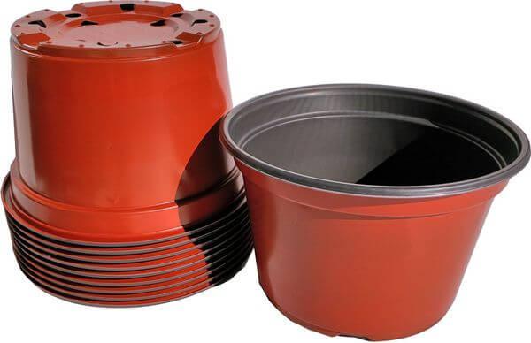 8-Inch Round Plastic Flower Pots, 10 Pack