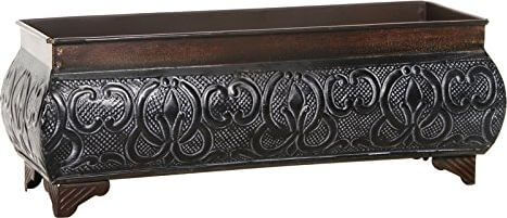 Hosley International Embossed Metal Rectangular Planter