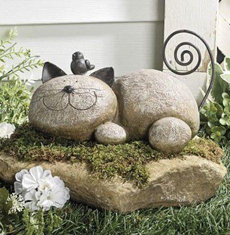 resting stone cat resin garden statue - Resin Garden Statues