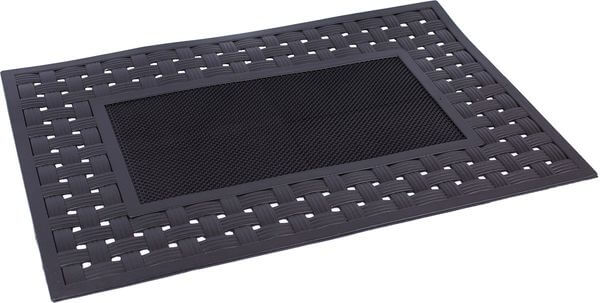 BirdRock Home Rubber Doormat with Basket Weave Border
