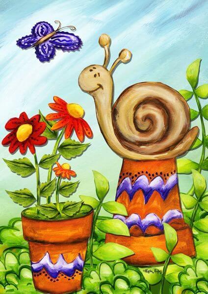 Snail Spring Garden Flag