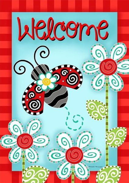 Ladybug Welcome Spring Garden Flag