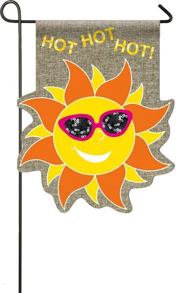 Hot Sun With Sparkle Sunglasses Burlap Garden Flag