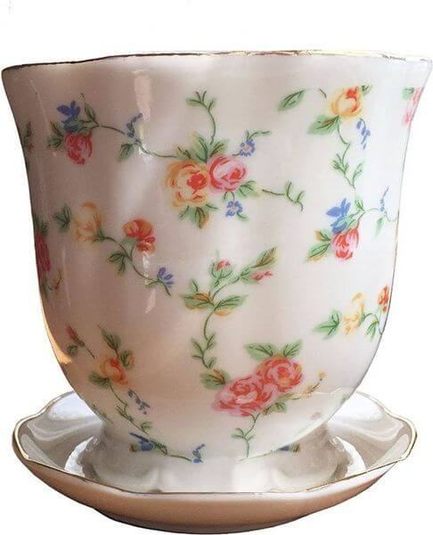 'Petite Flowers' Tea Cup Flower Pot