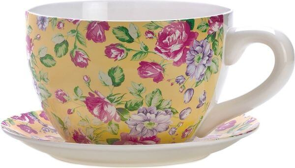 Gifts & Decor China Rose Teacup Flower Pot