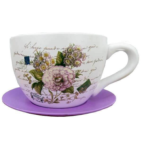 Pink Carnation Teacup Garden Planter