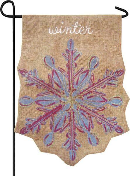 Evergreen Snowflake Burlap Winter Garden Flag
