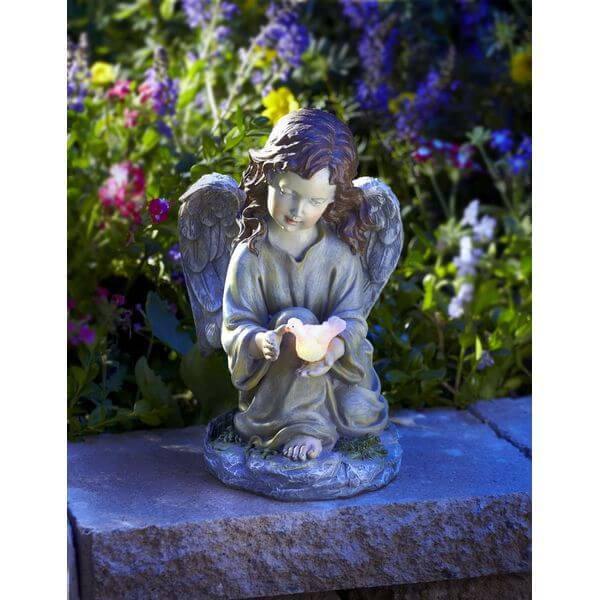 Solar Powered Angel with Glowing Dove Statue