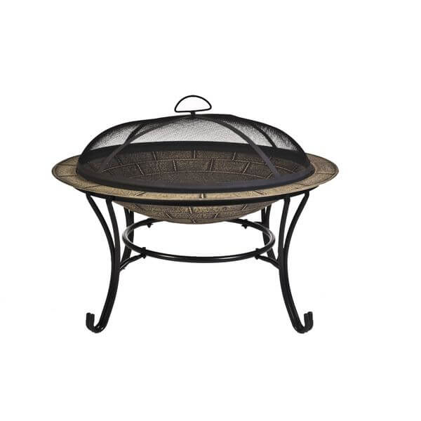 CobraCo Round Cast Iron Brick Finish Fire Pit with Screen and Cover