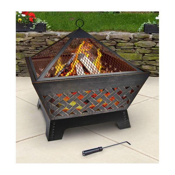 Landmann Barrone Fire Pit with Cover, Antique Bronze