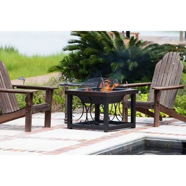 Fire Sense Cocktail Table Fire Pit, Bronze Finish