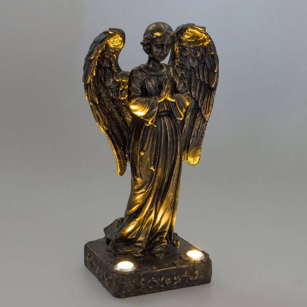Solar Powered Praying Angel Bronze Garden Statue