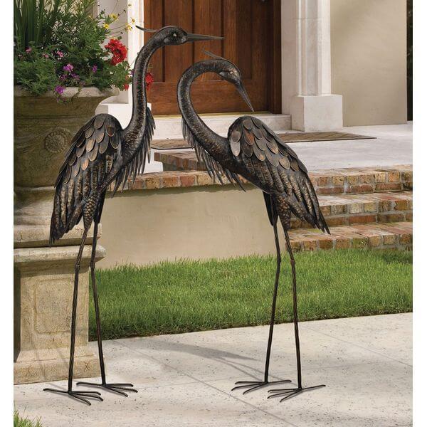 Regal Art and Gift Standing Heron Bronze Garden Statue