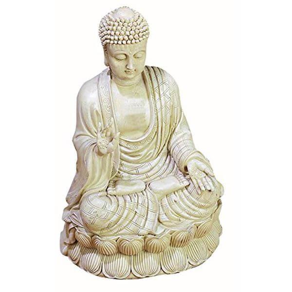 Benzara Antique White Polystone Buddha Statue