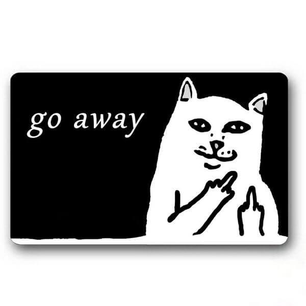 Burning Love White Grumpy Cat Go Away Printed Doormat