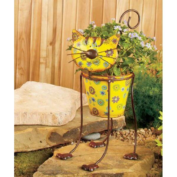 Whimsical Colorful Cat Flower Pot