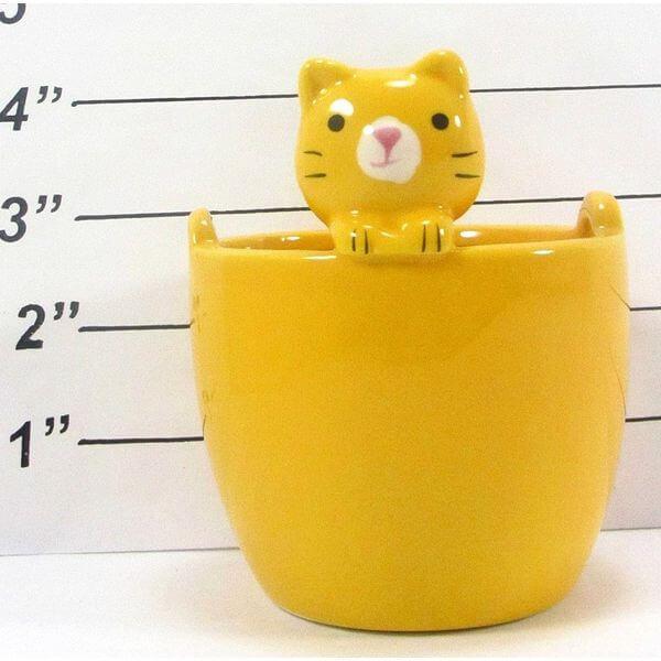 Daiso Yellow Cat Ceramic Flower Pot