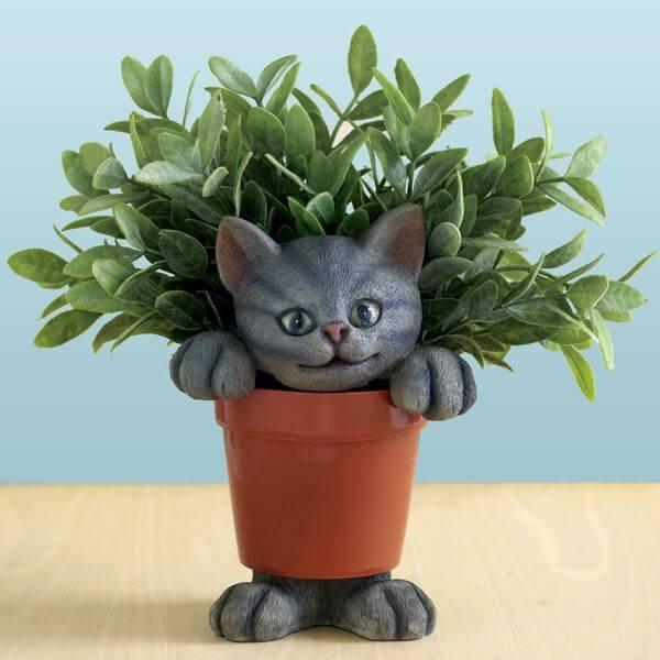 'Cat in a Planter' Plant Pot Accessory
