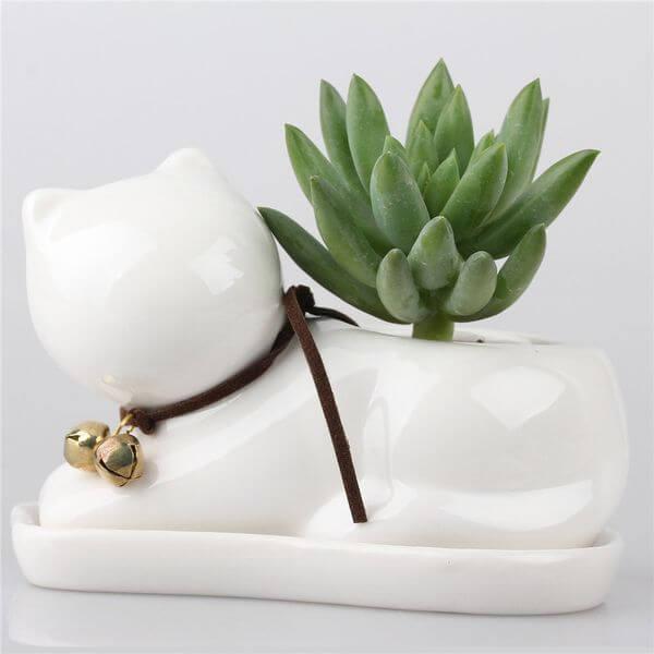 Small Cat Ceramic Succulent Plant Flower Pot