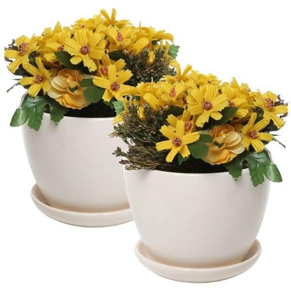 Set of 2 Modern Off White Ceramic Flower Pots