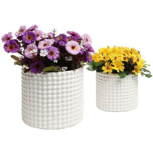 White Ceramic Vintage-Style Hobnail Textured Flower Planter Pots