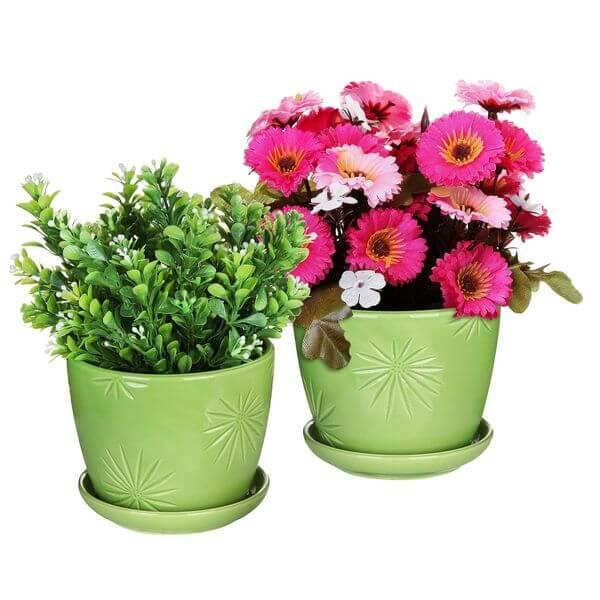 Decorative Green Daisy Burst Design Ceramic Flower Pots