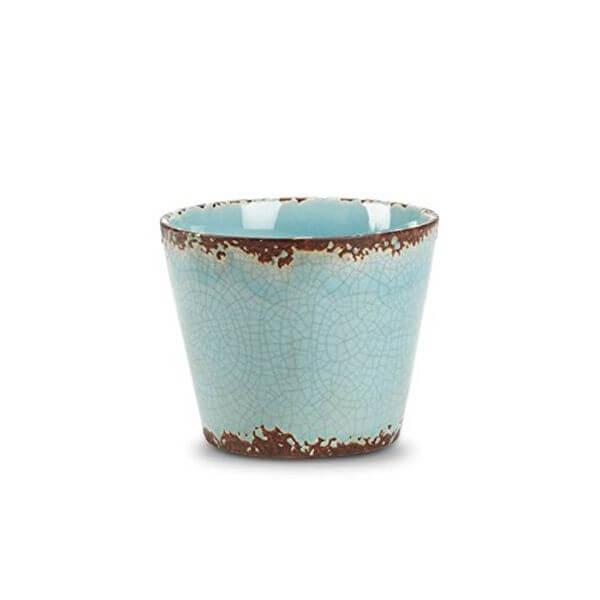 Antiqued Turquoise Ceramic Flower Pot